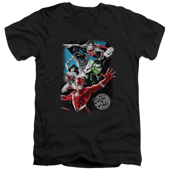 Jla Galactic Attack Short Sleeve Adult V Neck T-Shirt