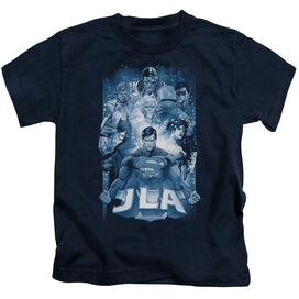 Jla Burst Short Sleeve Juvenile Navy Md T-Shirt