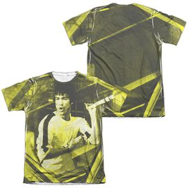 Bruce Lee Stripes (Front Back Print) Adult 65 35 Poly Cotton Short Sleeve Tee T-Shirt
