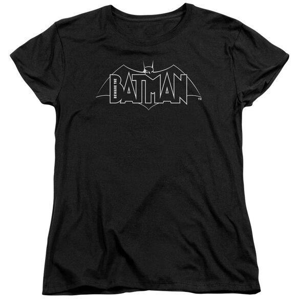 Beware The Batman B&W Logo Short Sleeve Womens Tee T-Shirt