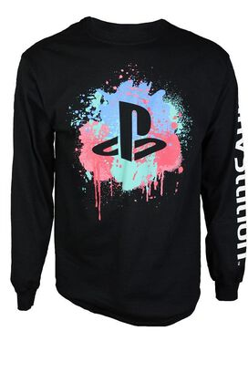 Playstation Paint Splatter Long Sleeve T-Shirt