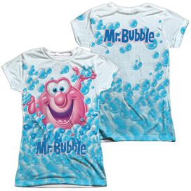 Mr Bubble Clean Sweep (Front Back Print) Short Sleeve Junior Poly Crew T-Shirt