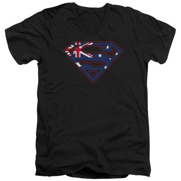 SUPERMAN AUSTRALIAN SHIELD - S/S ADULT V-NECK - BLACK T-Shirt