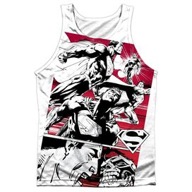 Superman Angry Red Adult 100% Poly Tank Top