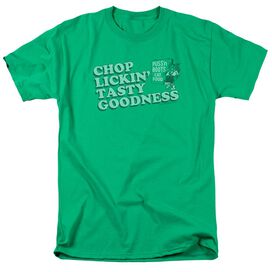 Puss N Boots Chop Lickin Tasty Goodness Short Sleeve Adult Kelly Green T-Shirt