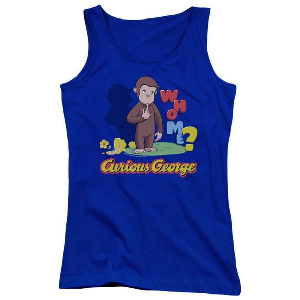 Curious George Who Me Juniors Tank Top Royal