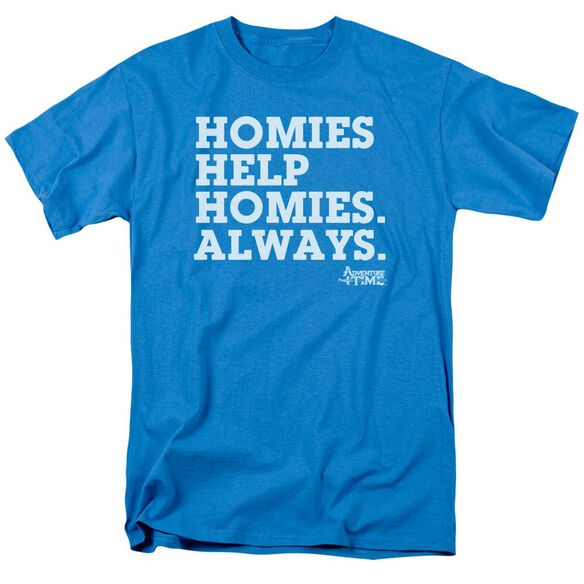 Adventure Time Homies Help Homies Short Sleeve Adult Turquoise T-Shirt