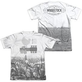 Woodstock Crowd (Front Back Print) Adult Poly Cotton Short Sleeve Tee T-Shirt