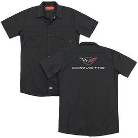 Chevrolet Corvette Modern Emblem (Back Print) Adult Work Shirt