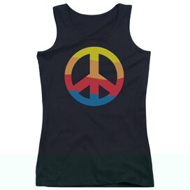 Rainbow Peace Sign - Juniors Tank Top - Black