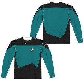Star Trek Tng Science Uniform (Front Back Print) Long Sleeve Adult Poly Crew T-Shirt
