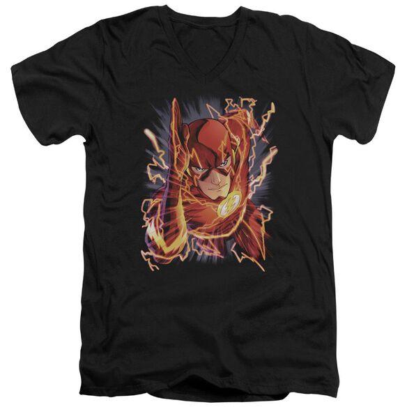 Jla Flash #1 Short Sleeve Adult V Neck T-Shirt