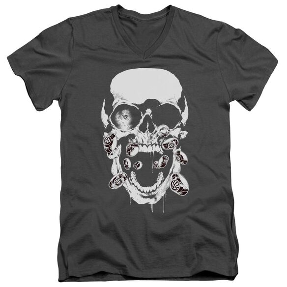 Green Lantern Black Lantern Skull Short Sleeve Adult V Neck T-Shirt