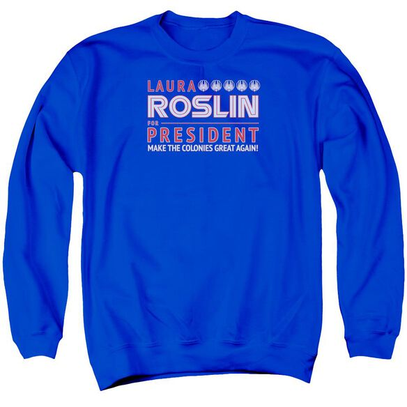 Bsg Roslin For President Adult Crewneck Sweatshirt Royal