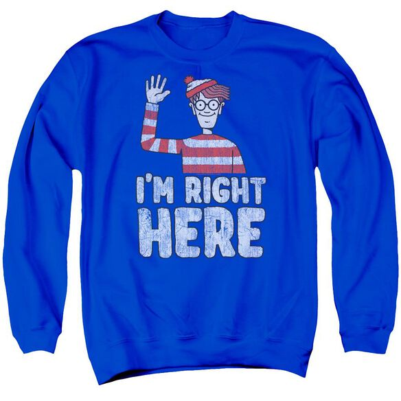 Wheres Waldo Im Right Here Adult Crewneck Sweatshirt Royal