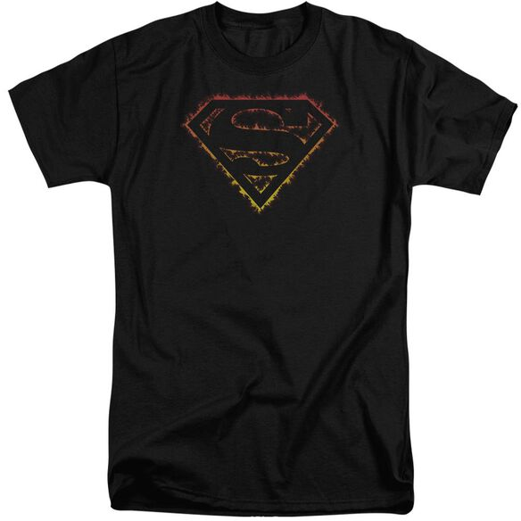 Superman Flame Outlined Logo Short Sleeve Adult Tall T-Shirt