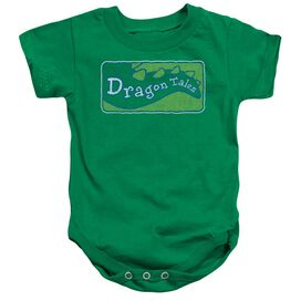 Dragon Tales Logo Distressed Infant Snapsuit Kelly Green