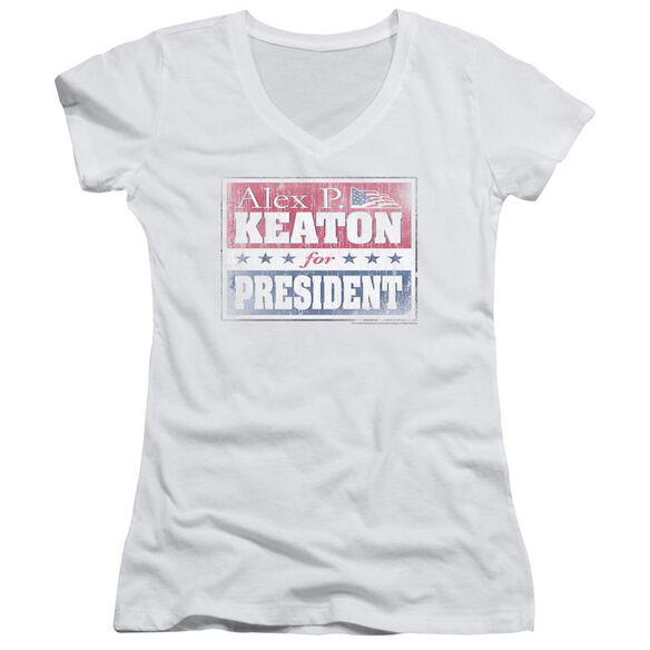 Family Ties Alex For President Junior V Neck T-Shirt