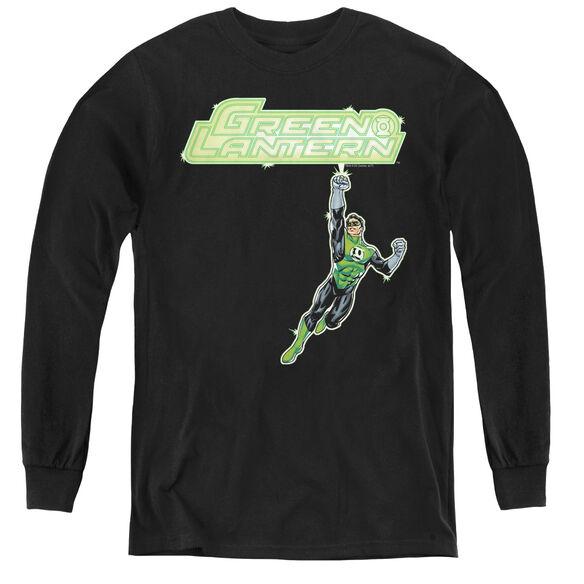 Green Lantern Energy Construct Logo - Youth Long Sleeve Tee - Black