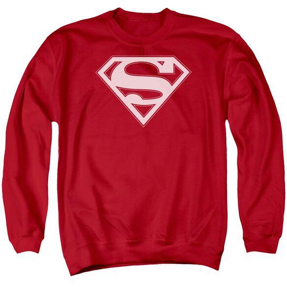 Superman &Amp; White Shield Adult Crewneck Sweatshirt