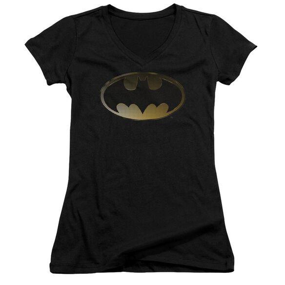 Batman Halftone Bat - Junior V-neck - Black