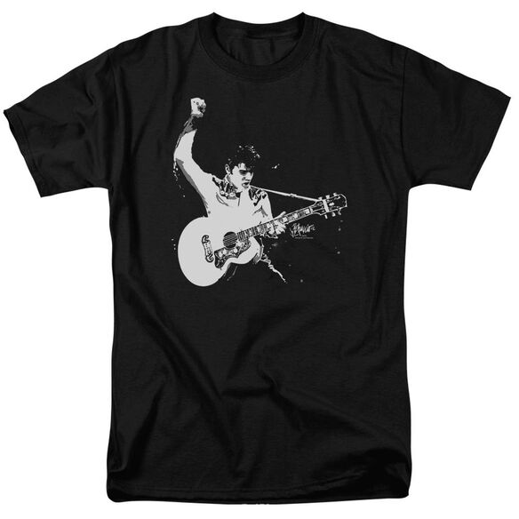 Elvis Black&White Guitarman Short Sleeve Adult T-Shirt