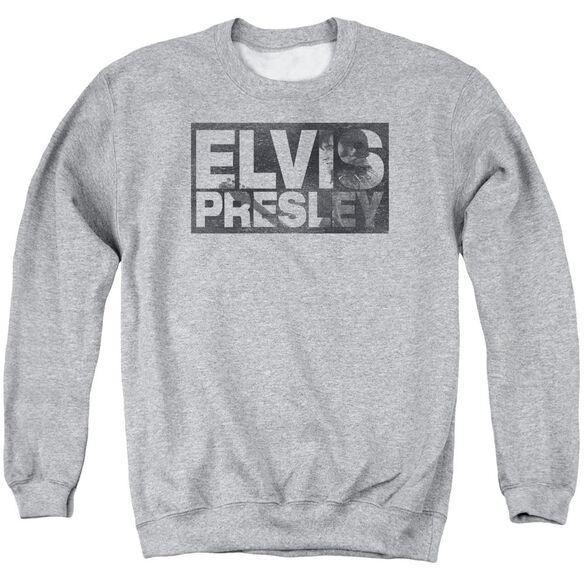 Elvis Block Letters Adult Crewneck Sweatshirt Athletic