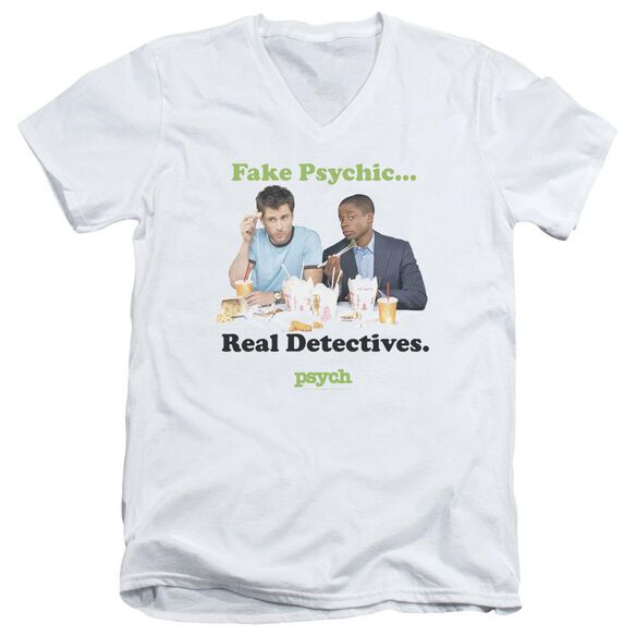 Psych Take Out Short Sleeve Adult V Neck T-Shirt