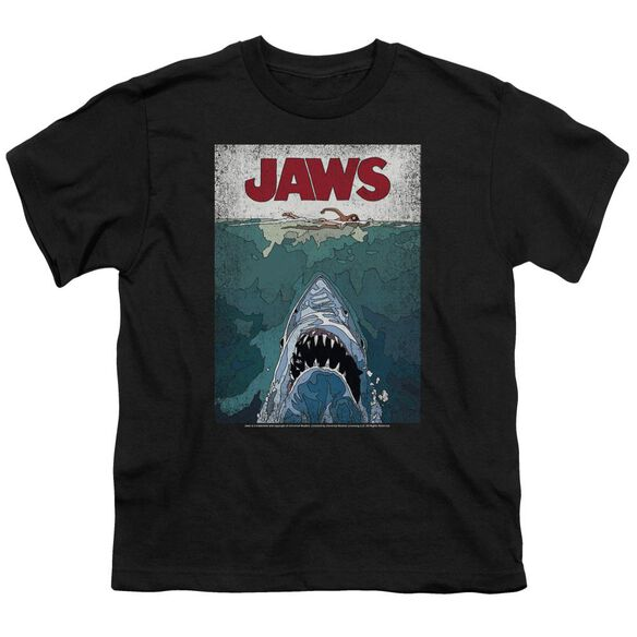 Jaws Lined Poster Short Sleeve Youth T-Shirt