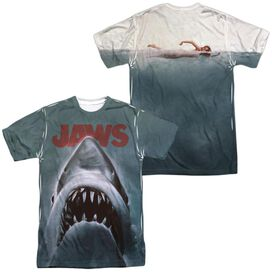 Jaws Poster (Front Back Print) Short Sleeve Adult 100% Poly Crew T-Shirt