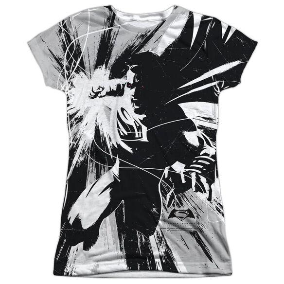 Batman V Superman Graphic Contrast Short Sleeve Junior Poly Crew T-Shirt