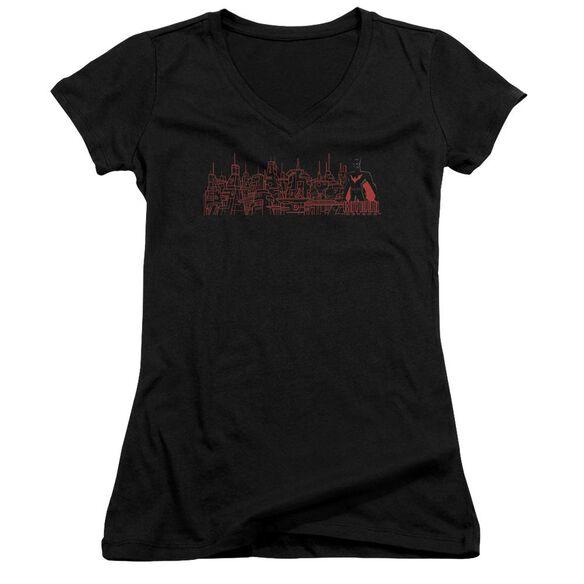 Batman Beyond Neo Gotham Skyline Junior V Neck T-Shirt