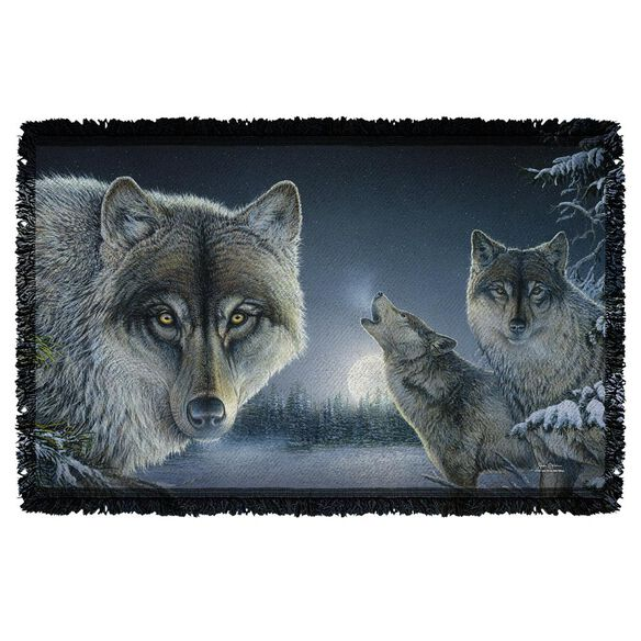 Wild Wings Midnight Wolves 2 Woven Throw
