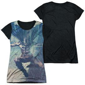 Batman Skyscrapers Short Sleeve Junior Poly Black Back T-Shirt
