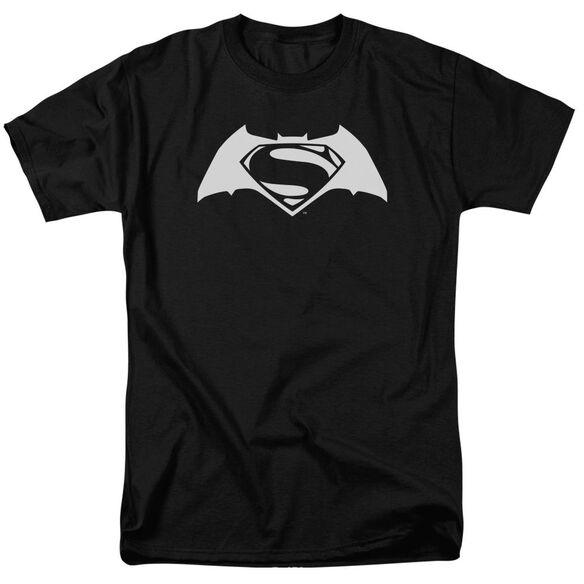 Batman V Superman Simple Logo Short Sleeve Adult Black T-Shirt
