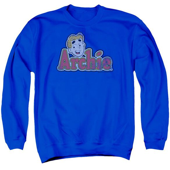 Archie Comics Distressed Archie Logo Adult Crewneck Sweatshirt Royal