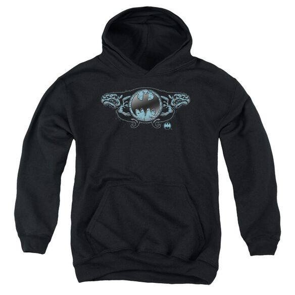 Batman Two Gargoyles Logo Youth Pull Over Hoodie