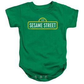 Sesame Street Rough Logo Infant Snapsuit Kelly Green