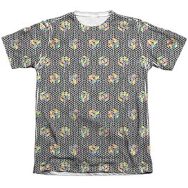 Rubiks Cube Black And Adult Poly Cotton Short Sleeve Tee T-Shirt