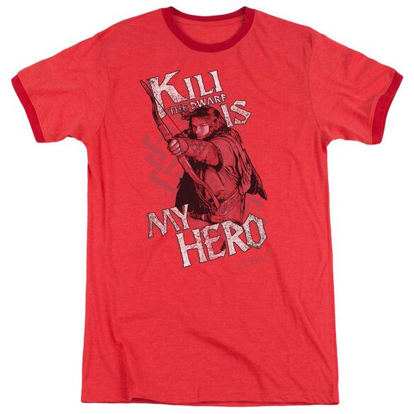 The Hobbit Kili Is My Hero Adult Heather Ringer Red