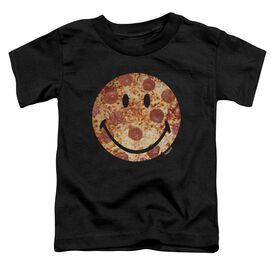 Smiley World Pizza Face Short Sleeve Toddler Tee Black T-Shirt