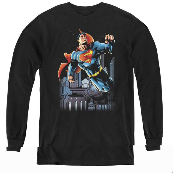 Superman Night Fight - Youth Long Sleeve Tee - Black