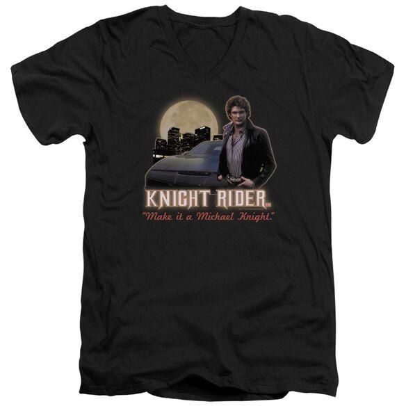Knight Rider Full Moon Short Sleeve Adult V Neck T-Shirt