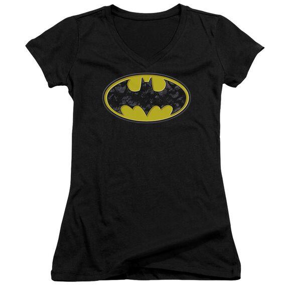 Batman Bats In Logo Junior V Neck T-Shirt