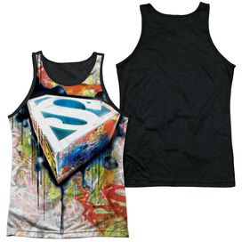Superman Urban Shields Adult Poly Tank Top Black Back