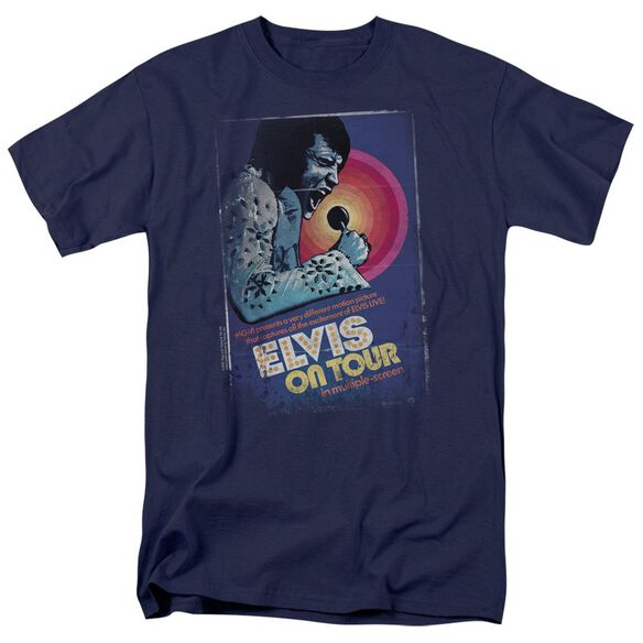Elvis On Tour Poster Short Sleeve Adult Navy T-Shirt