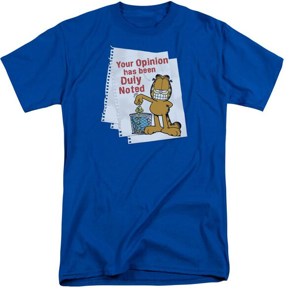 Garfield Duly Noted Short Sleeve Adult Tall Royal T-Shirt