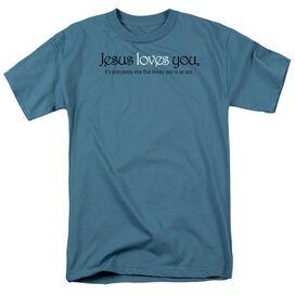 Jesus Loves You Short Sleeve Adult Slate T-Shirt