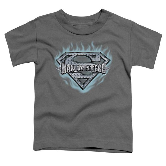 Superman Man Of Steel Shield Short Sleeve Toddler Tee Charcoal Md T-Shirt