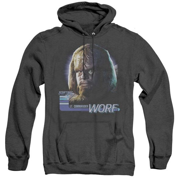 Star Trek Tng Worf - Adult Heather Hoodie - Black